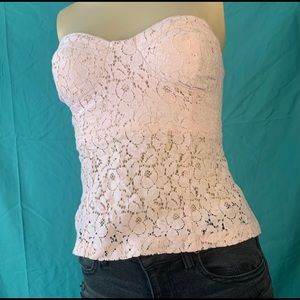 CUTE PINK STRAPLESS FLORAL PATTERNED TOP